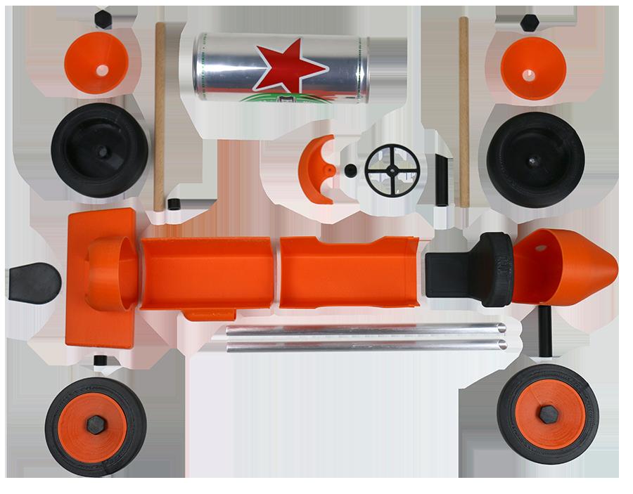 Ensemble des pièces imprimées et des accessoires pour la réalisation de la voiture Canlook car